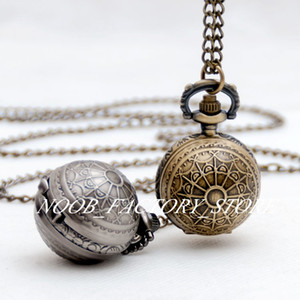 ingrosso guardare palle-Nuovo quarzo Vintage New Quartz Tasks Pocket Watch CollaceJewelry Maglione Catena Catena Moda Orologi Studente Student Guarda Bronzo Colore Acciaio Acciaio