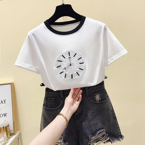 Wholesale floral watches women resale online - New frizzy embroidered cotton t shirt of standard white watch women harajuku tshirt tops plus size t femme shirt vogue summertime AIWS