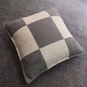 Wholesale cream colored resale online - New Smelov fashion vintage fleece pillowcase letter H european pillow cover covers wool throw pillowcases x45cm x65cm