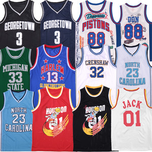 camisola do basquetebol carolina venda por atacado-Rapper Jersey Don Georgetown Travis Scott Jack North Carolina O distrito Harlem Michigan State Villanova Jerseys