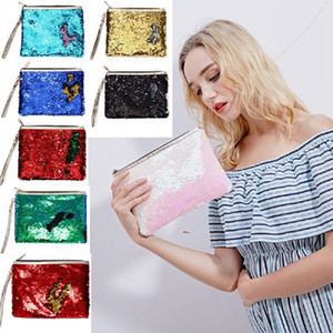 Wholesale designer clutches bags resale online - Sequin Glitter Mini Zipper Earphone Coin Wallet Girls Christmas Party Bag Mermaid Sequin Clutch Cosmetic Coin Purse Storage Bag CCD3409