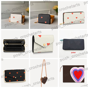 Wholesale card holder wallet women for sale - Group buy Designer Smaller Leather Goods Zippy Wallet for Sale Zippy Card holder Felicie Pouch of Poker Prints Comes with Box Packaging