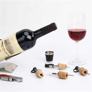Wholesale wine corking resale online - Stainless Steel Cork Stopper Oil Champagne Beer Bottle Stoppers Diversion Nozzle Red Wine Pourer Kitchen Wedding Party Favor EEF3888