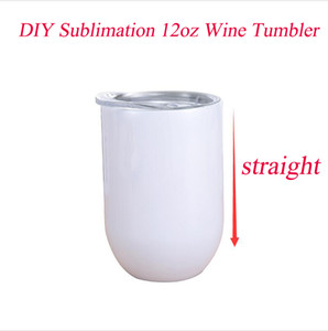 DIY 12oz Sublimation Wine tumbler Stainless Steel Straight Wine Glasses Egg Cups Stemless Wine Glasses with lid Vacuum Egg Shape