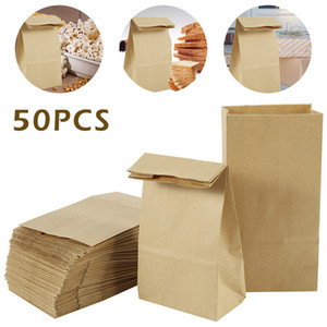 Wholesale paper bread resale online - 50pcs Kraft Paper Bags Food Tea Small Gift Bag Sand Bread Bags Party Wedding Supplies Wrapping Gift Takeout Eco friendly Bag Y1121