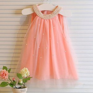 Wholesale pearls designs clothes for sale - Group buy Girls Dress Brand Princess Dress Sleeveless Pearl Design for Girls Clothes Party Dre1 Y Clothes