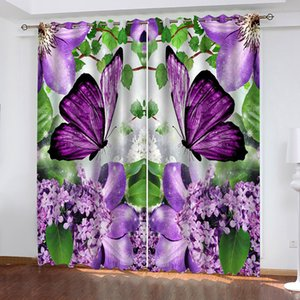 Wholesale thermal insulating curtains resale online - Blackout Curtain Beautiful Purple Flower Butterfly Thermal Insulated Soundproof Blinds Drapes For Bedroom Living Room Custom