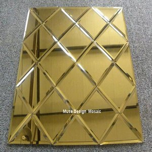 Wholesale art glass mosaic tile for sale - Group buy Puzzle Art Golden Glass Mirror Mosaic Tile Showroom Lobby KTV Display Ceiling tile wall Tile
