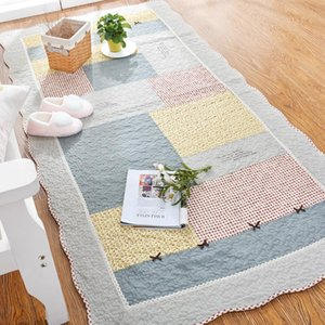 Wholesale mats for living room resale online - Patchwork Cotton Carpet for Living Room Decor Machine Wash Quilted Anti Slip Floor Mat Entrance Doormat Bedroom Rugs and Carpets