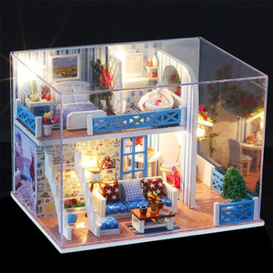Wholesale diy dollhouse kits for sale - Group buy 1set Cute DIY Dollhouse Miniature Furniture Kit Toys Assembly Building Doll House Wood Toys For Children Birthday Birthday Gift