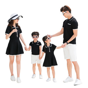 Wholesale mother daughter summer outfits for sale - Group buy Mother And Daughter knitting dress Family Matching Outfits Son and Mum Shirts Father Daddy and Boy Clothes Summer dress A5256