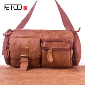 Wholesale multi functional waist bag for sale - Group buy HBP AETOO Men s head leather large waist bag vintage matte leather chest bag outdoor multi functional stiletto bag