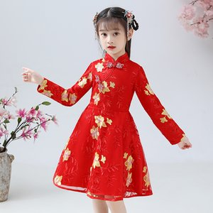 Wholesale chinese style baby clothes for sale - Group buy Toddler Baby Kid Girl Lunar Chinese New Year Tang Suit Princess Dresses Clothes baby girl Chinese style dress for new year J1205