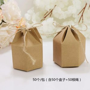 Wholesale boutique box packaging for sale - Group buy 50pcs Birthday Boutique Favor Small Gift Packaging Box Wedding Party Candy Chocolate Craft Packing Hexagon Kraft Paper Box H jllxTD