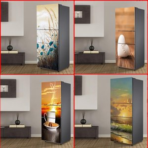 Wholesale fridge covers for sale - Group buy 3D Self Adhesive Film Door Vinyl Fridge Cover Stickers Refrigerator Cover Wallpaper Pvc