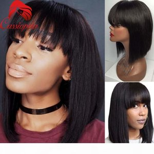 Wholesale short bobs haircuts for sale - Group buy 8A Short Bob Wig With Bangs Full Lace Virgin Human Hair Malaysian Short Bob Lace Front Wig Virgin Haircuts Human Hair Bob Wigs