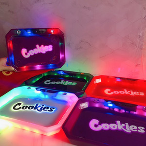 Wholesale suit paper resale online - Cookies LED Rolling Glow Tray Black White Purple Christmas Gift set Cookies Rolling Glowtray Packaging Paper Box Dry Herb Flower