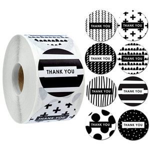 500pcs 1.5inch Thank You Black White Seal Label Stickers Wedding Gift Decoration Cake Baking Bag Package Envelope Decor