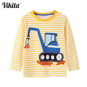 Wholesale children printed t shirts resale online - VIKITA Boys Long Sleeve T shirt Children Autumn Spring Striped O Neck Tees Toddlers Baby Boy Car Print Tops Children Clothing F1207