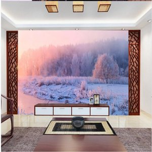 Wholesale snow backgrounds for sale - Group buy 3d landscape wallpaper Winter snow landscape wallpapers background wall d stereoscopic wallpaper