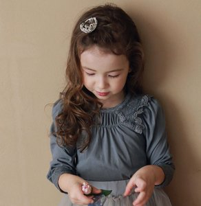 Wholesale long t shirts korean girls resale online - Sweet girls lace ruffle T shirt spring new children cotton long sleeve T shirt korean style kids princess tops A5345