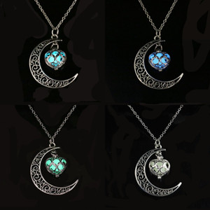 Wholesale moon shaped jewelry resale online - Moon Love Heart Shaped Pendants Necklace Hollowing Out Luminescence Chain Fashion Jewelry Women Men Necklaces lx K2B