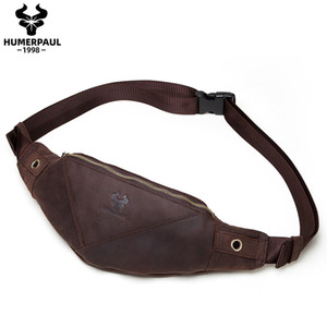 Wholesale waist bag small for men resale online - Crazy Horse Leather Waist Bag For men Travel Waist Pack Vintage Small Fanny Pack Male Belt Pouch Bag Casual Cell Phone Chest Bag