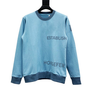New arrival Letter Printing Fashion Geometric Letter Hoodies Sweatshirt Men Women Street Pullover Hooded Sweatshirt Blue Size XS-L