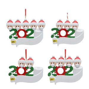 ingrosso auguri di natale-Resina Ornamento di Natale Greetings Quarantini Christmas Birthday Party Pandemic Social Distanziazione Albero di Natale Pendant Tree Accessori EWC3995