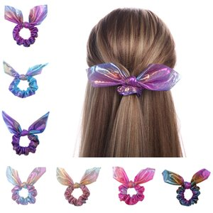 Wholesale rope bunny for sale - Group buy Gradient Laser Women Scrunchies Bunny Ears Hair Band Rope Bowknot Elastic Hair Ring Girl Ponytail Holder Circle Shiny Scrunchie Headband Hot