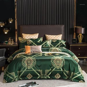 Wholesale bedding set queen size cotton yarn resale online - High Precision Yarn dyed Jacquard Satin Silk Cotton Bedding Set Duvet Cover Bed Linen Bed sheet Pillowcases King Queen Size PCS1