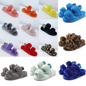 1 chinelos venda por atacado-New fuzz wedges oh fluff yeah slides slippers fur sandale with fluffy furry women slippers shoes elastic tie slippers platform pantou