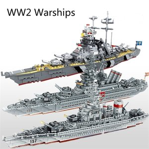ingrosso giocattoli da guerra-WW2 Serie militare Warships Series Building Blocks Battleship Model WW2 Military Soldier Weapon Toys Q1214