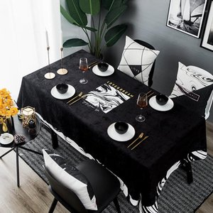Wholesale entry tables resale online - Black Entry Velvet Table Cloth Waterproof Creative Nordic Dining Table Tablecloth Simple Modern Print Tables Cover Cloth1