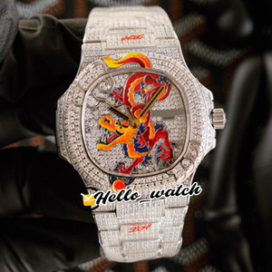 Wholesale stainless steel silver dragon resale online - JHF Limited New Iced Out Full Diamonds Enamel Dragon Design Dial Cal S C Automatic Mens Watch Diamonds Bracelet Hello_Watch