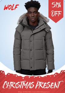 Top Men Winter Jacket Wolf Fu travel Parka Down Jacket Long Parka Puffer Coats Warm Overcoat Jaqueta coats outwear