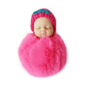 Wholesale small cars kids resale online - Sleeping Baby Doll Plush Keychain Creative Cute Small Soft Fur Doll Pendant Car Bag Charm Fluffy Ball Keyring Toy for Kids