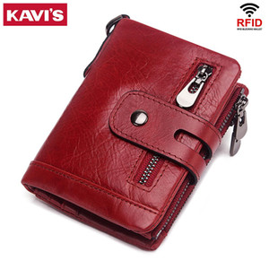 Wholesale walet women resale online - KAVIS Genuine Leather Women Wallet Lady Female Coin Purse PORTFOLIO Cowhide Leather Red Portomonee Mini Walet Pocket Bag