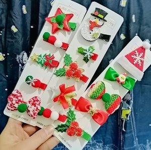 Hot Sales 2020 Christmas Hair Pin 5 Pcs   Set Cute Snowman Santa Claus Hair Card Girls Hair Clip Accessories in Stock