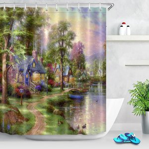 Wholesale farmhouse curtains resale online - Natural Scenery Farmhouse Retro Shower Curtain Beautiful Spring Forest House Rustic Fabric Bath Curtain For Bathroom Decor
