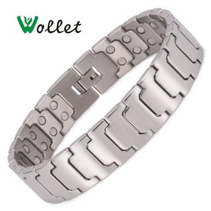 Wholesale titanium magnetic bracelets resale online - Wollet Jewelry Simple Design Titanium Magnetic Bracelet for Men Silver Color Copper Bio Magnet Health Care Healing Y1130