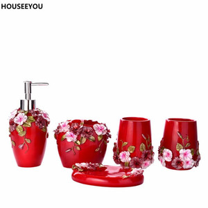 Wholesale resin bathroom accessories resale online - Bathroom Accessories Set Luxury European Resin Bathroom Sanitary Ware Set Toothbrush Holder Soap Dish Personalized Wedding Gifts