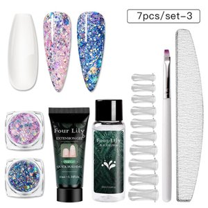Wholesale lily nails resale online - Four Lily Nail Extension Gel Set Glitter Sequins Builder Nail Gel All For Manicure Design Extension UV for Nails
