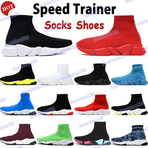 azul e a parte superior branca venda por atacado-2021 Top quality speed trainer beige mens sneakers socks shoes triple black red white royal fashion men women running shoes cheap boots