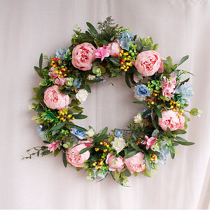 Wholesale artificial flowers sale resale online - Hot Sale cm High Quality Artificial Flower Wreath For Door Wall Window Christmas Home Wedding Garden Decoration DHE3397