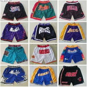 Wholesale basketball team for sale - Group buy Team Basketball Short Just Don Sport Shorts Hip Pop Pant With Pocket Zipper Sweatpants Blue White Black Red Pink Mens Stitched Good as
