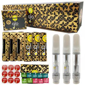 GLO Extracts Vape Cartridges 0.8ml 1ml Empty Vape Pen 1 Gram Carts 510 Thread Thick Oil Glass Tanks Ecigs Vaporizer Box Packaging