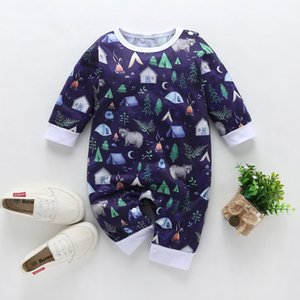Wholesale baby clothes elephants boys for sale - Group buy ZWF229 Boy Romper Cartoon Elephant Romper Jumpsuit Playsuit Outfits Toddler Boy Clothes Cotton O neck baby onesie roupa infantil F1218