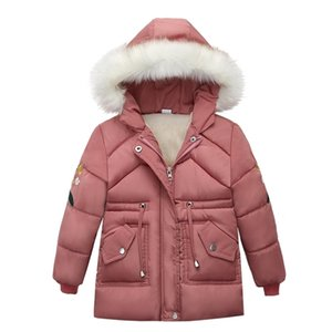girls coat New Christmas Outerwear Fashion Winter Girls Fur Down Clothing Children's embroidered sleeves Down Jacket