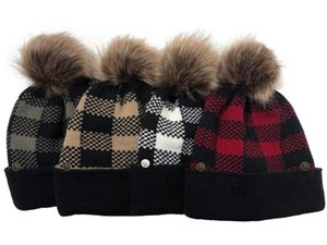 Wholesale ski mask thick for sale - Group buy Women Knitted Beanies Winter Ski Hats Plaid Designer Warm Wool Caps Detachable Pompom Grid Thick Hat with Face Mask Button Head Wear D111902